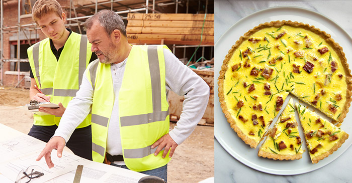 Apprentice builder sent home for hooking into quiche at smoko