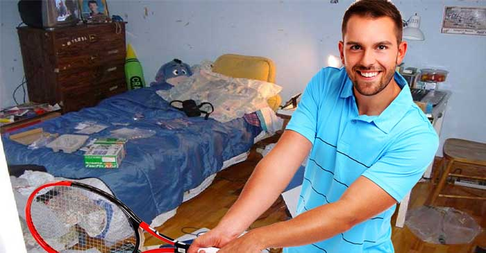 Bloke shows off items around room like bowerbird to impress one-night-stand