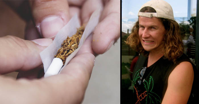 Hip youth begging for cigarette in hotel smoking area wondering if local man can roll it for him as well