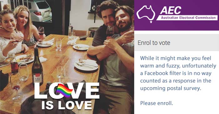 AEC Reminds Millennials That Pro-Gay-Marriage Facebook Filters Do Not Count As Votes