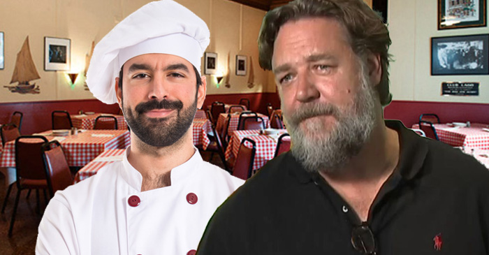 Italian Restaurant Dedicates Entire Wall To Photos Of Their Staff With Russell Crowe