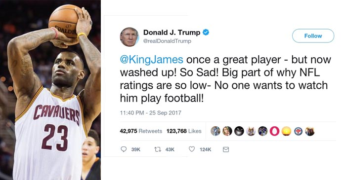 Trump Says Lebron Is Washed Up And No One Watches Him Play Football Anymore
