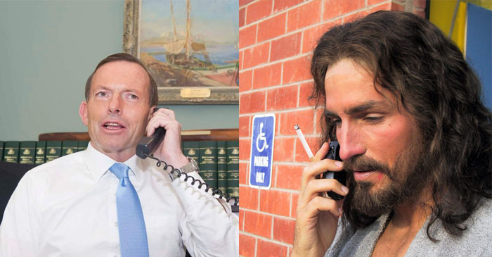 Jesus Christ Tells Tony Abbott That Whatever Happens Tomorrow Was All Part Of God's Plan
