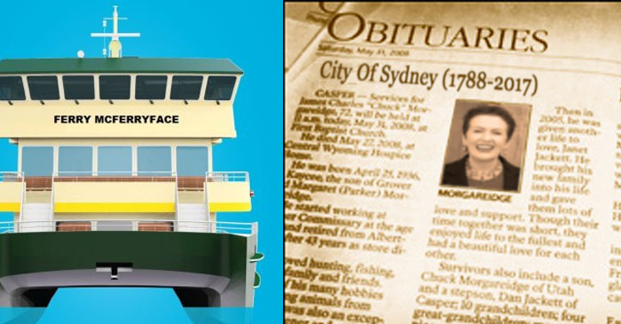 City Of Sydney Passes Away Peacefully Hours After Naming New Ferry 'Ferry McFerryface'