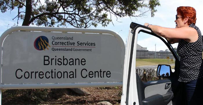 Pauline Scouts Outside Gates Of Wacol Prison Looking For Potential One Nation Candidates