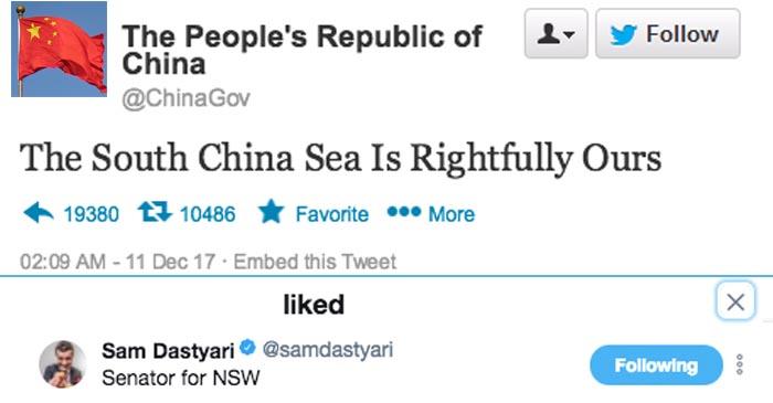 Dastyari Says Twitter Was Hacked After Liking Chinese Propaganda At 2am