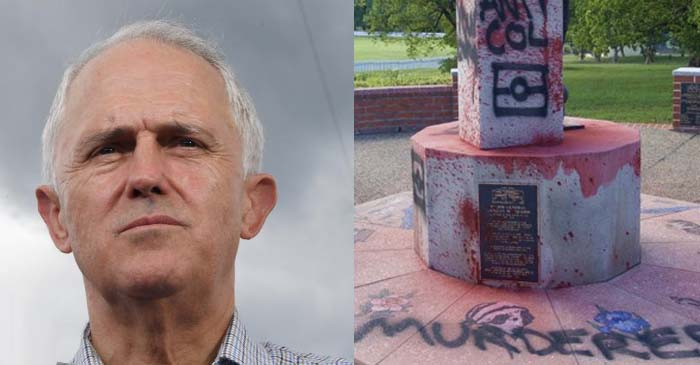 Turnbull Still Confused As To Why Vandals Spray Painted Japanese Flag On Macquarie Statue