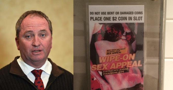 Barnaby Blames Affair On Wipe-On-Sex-Appeal From Pub Bathroom Vending Machine
