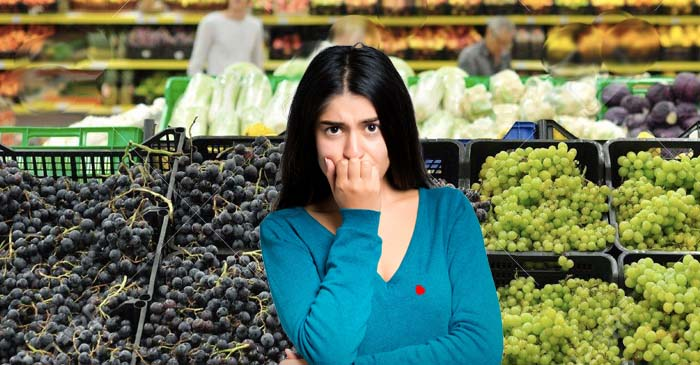 Infrared Laser Beam Appears On Shopper's Chest While Sneaking A Loose Grape At Woolies