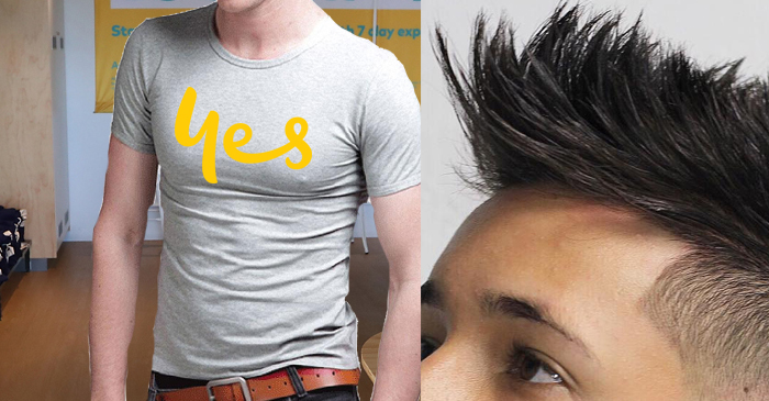 Optus Store Employee In Chesty Shirt Going A Bit Overboard With The Hair Product