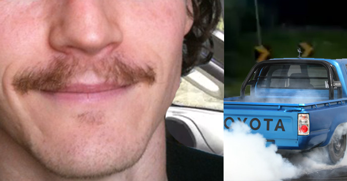 Patchy Moustache Teenager Lights Up Fully Kitted LowLux On Bruce Highway Exit Ramp