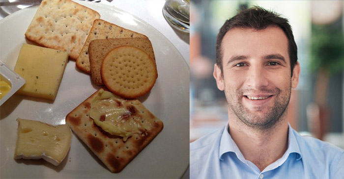 Idiot Man Fills Up On Cheese And Biscuits Before Dinner - Again