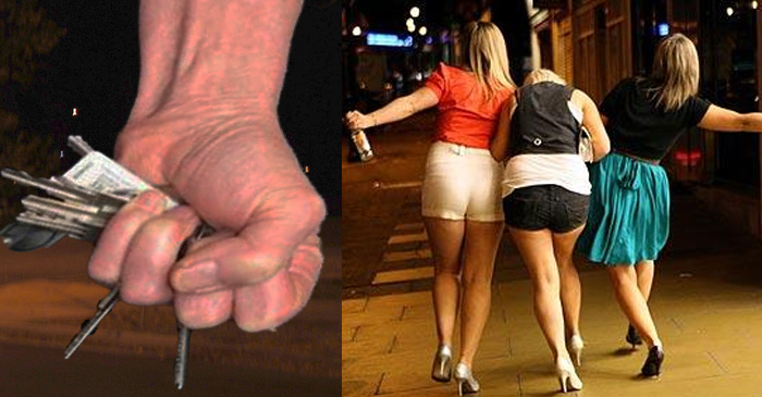 Man Walking Past Drunken Pack Of Women Clenches His Keys Like He Was Taught At School
